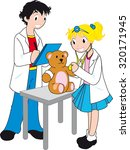 young kids play doctor with bear | Shutterstock .eps vector #320171945