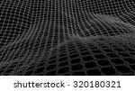 3d wireframe wave net surface | Shutterstock .eps vector #320180321
