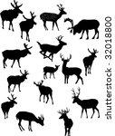illustration with deer... | Shutterstock . vector #32018800
