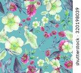beautiful floral seamless... | Shutterstock . vector #320198039