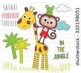 safari friends  giraffe  monkey ... | Shutterstock .eps vector #320198051