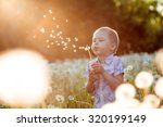 Boy Blowing A Dandelion At...