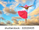woman dancing in the sky on... | Shutterstock . vector #32020435