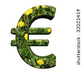 Euro sign from floral alphabet set, isolated on white. Computer generated 3D photo rendering. - stock photo