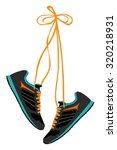 pair of hanging sneakers  ... | Shutterstock .eps vector #320218931