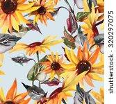 sunflowers seamless pattern on... | Shutterstock . vector #320297075