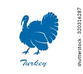 blue icon of turkey bird... | Shutterstock . vector #320316287