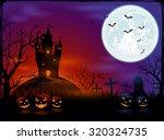 halloween pumpkins on graveyard ... | Shutterstock . vector #320324735