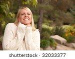 attractive blonde woman...   Shutterstock . vector #32033377