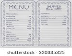 funny menu depicting different... | Shutterstock . vector #320335325