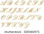 gold alphabet on white... | Shutterstock . vector #320360471