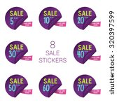 8 sale round stickers with... | Shutterstock .eps vector #320397599