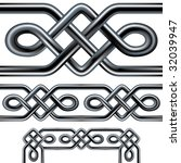 Seamless Celtic rope design element.  Complex interlocking stainless steel tubes in a repeatable tribal pattern than can be used as a frame, background, or border design.  Includes corner pieces. - stock vector