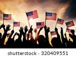 Group Of People Waving America...