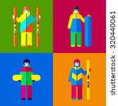woman in ski and snowboard... | Shutterstock .eps vector #320440061