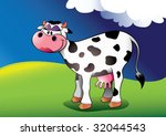 Comic cow background. Vector illustration. - stock vector