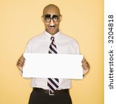 Small photo of African American man wearing groucho mask disguise holding blank sign.