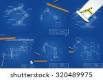 set of drawings of mechanical... | Shutterstock .eps vector #320489975