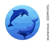 round icon with two dolphins in ...   Shutterstock .eps vector #320491451