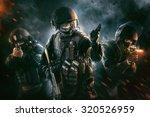 three soldiers in full uniform... | Shutterstock . vector #320526959
