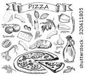 pizza ingredient   Shutterstock .eps vector #320611805