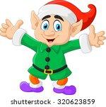 Cartoon Christmas Elf  Waving...