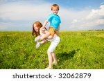 two fan children playing on the ... | Shutterstock . vector #32062879