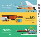 logistic concept flat banners... | Shutterstock . vector #320645759