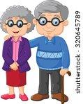 cartoon elderly couple isolated ... | Shutterstock .eps vector #320645789