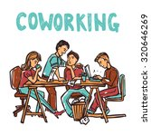 coworking center with business... | Shutterstock . vector #320646269