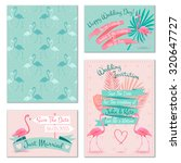 romantic flamingo birds on mint ... | Shutterstock . vector #320647727