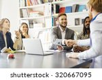 business shaking hand with a... | Shutterstock . vector #320667095
