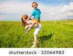 two fan children playing on the ...   Shutterstock . vector #32066983