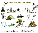 survival  a group of people in... | Shutterstock .eps vector #320686595