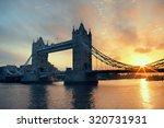 tower bridge silhouette over... | Shutterstock . vector #320731931