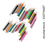 colour pencils on white... | Shutterstock . vector #32074687
