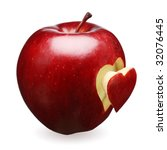 red apple with a heart symbol... | Shutterstock . vector #32076445