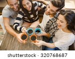 group of friends making a toast ... | Shutterstock . vector #320768687