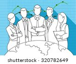 hand drawing successful team... | Shutterstock .eps vector #320782649