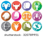 zodiac signs flat buttons  set... | Shutterstock .eps vector #320789951