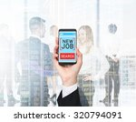 a hand holds a smartphone with...   Shutterstock . vector #320794091