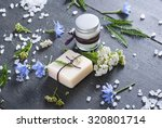soap  cream and bath salt with... | Shutterstock . vector #320801714