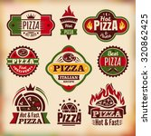 set 3 of vintage styled pizza... | Shutterstock .eps vector #320862425