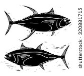wood cut tuna illustration | Shutterstock .eps vector #320881715