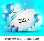 light blue designed birthday... | Shutterstock . vector #320887685