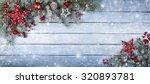 christmas fir tree on wooden... | Shutterstock . vector #320893781