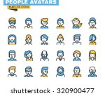 Flat Line Icons Set Of People...