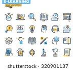 Flat Line Icons Set Of E...