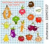 emotional vegetables and fruits | Shutterstock .eps vector #320907227
