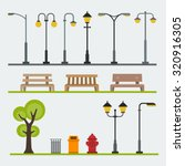 light posts and outdoor... | Shutterstock .eps vector #320916305